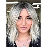 Vigorous Ombre Gray Short Wave Wigs For Women Synthetic Shoulder Length Wig Middle Part Natural Pastel Wavy Wigs for Party Daily Use 14 Inches(Ombre Gray)