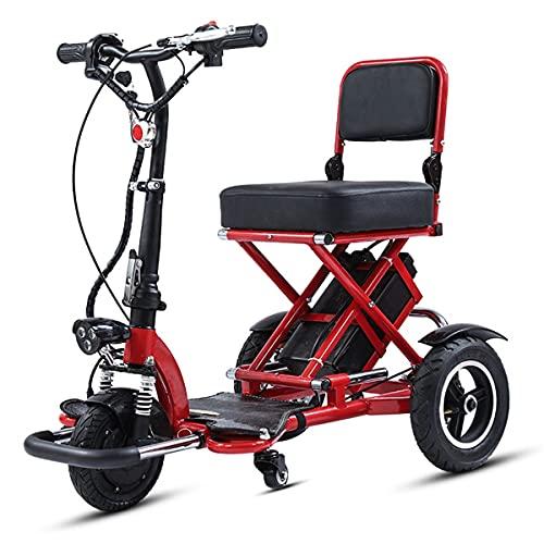 ZHCSYL Plegable Scooter Eléctrico de 3 Ruedas Para Personas Mayores Minusvalido, Portátil Silla de Ruedas eléctrica para discapacitados Scooter movilidad Patinete eléctrico Plegable para Viaje Exterio