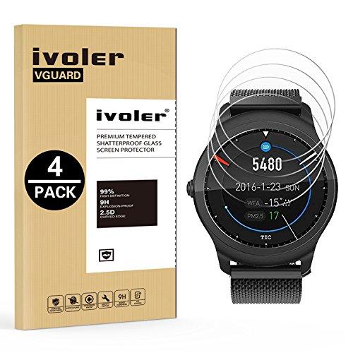 ivoler 4 Stücke Panzerglas Schutzfolie für Samsung Galaxy Watch 3 45mm / Ticwatch C2 / TicWatch E2 / TicWatch S2 / TicWatch 2 / TicWatch S/TicWatch E/TicWatch Pro 2020 / TicWatch Pro 2018