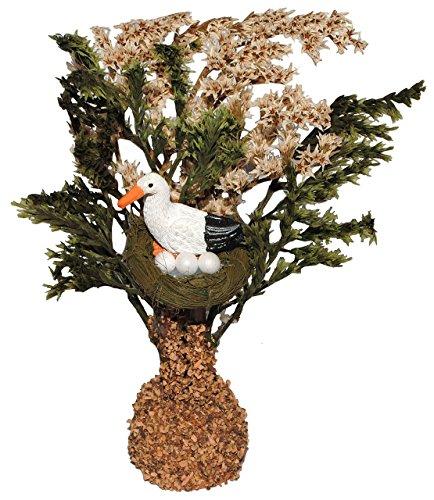 alles-meine.de GmbH Baum mit Storch + Storchennest - Miniatur 16 cm / Maßstab 1:12 - für Puppenstube / Puppenhaus u. Eisenbahn Platte - Garten Bäume / Geburt Baby Eier Vögel