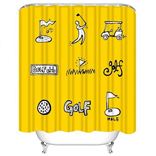 Juegos de Cortinas de Ducha Catálogo de Insignias de Deporte Activo Colección Club Cupón Curso de Tela de poliéster Dibujada Decoración con 12 Ganchos Impermeable Lavable 12 Ojales para baño