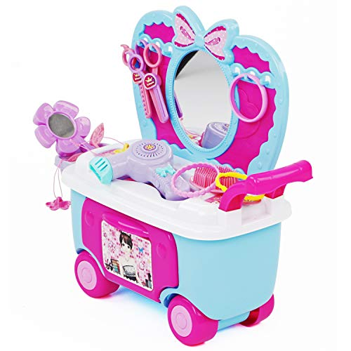 Play Brainy Kids Vanity & Play Makeup Stand for Little Girls | Adorable Girls Makeup Kit for Kids with Tons of Toy Jewelry, Cosmetics & Hair Accessories | Pretend Play Set for Girls Ages 2 to 7