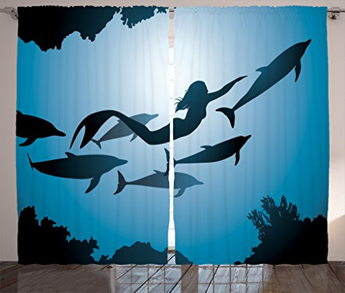 Ambesonne Underwater Curtains, Mermaid and Dolphins Underwater View Travel Diving Fin Sea Life, Living Room Bedroom Window Drapes 2 Panel Set, 108' X 84', Indigo Black