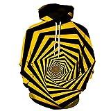 YPDWYJL Jersey 3D túnel en Espiral Amarillo Moda Deportiva Sudadera con Capucha otoño e Invierno Estudiante Casual Pareja suéter