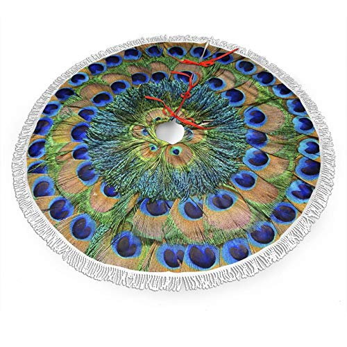 FREEHOTU Peacock Feathers Circle Christmas Tree Skirt Gorgeous Edge Tassel Lace for 30