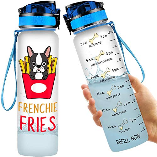 INDOOR WORLD Frenchie Fries Funny French Bulldog Lover Wife Dog Mom 32oz Water Bottle Time Marker Leakproof Fitness Gym Outdoor Sports