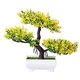 JGONas 1 Pieza De Cedro Bonsái Artificial, De árbol De Pino De Flor, Japonesa De Cedro-bonsái para El Hogar, Decoración De Oficina Amarillo