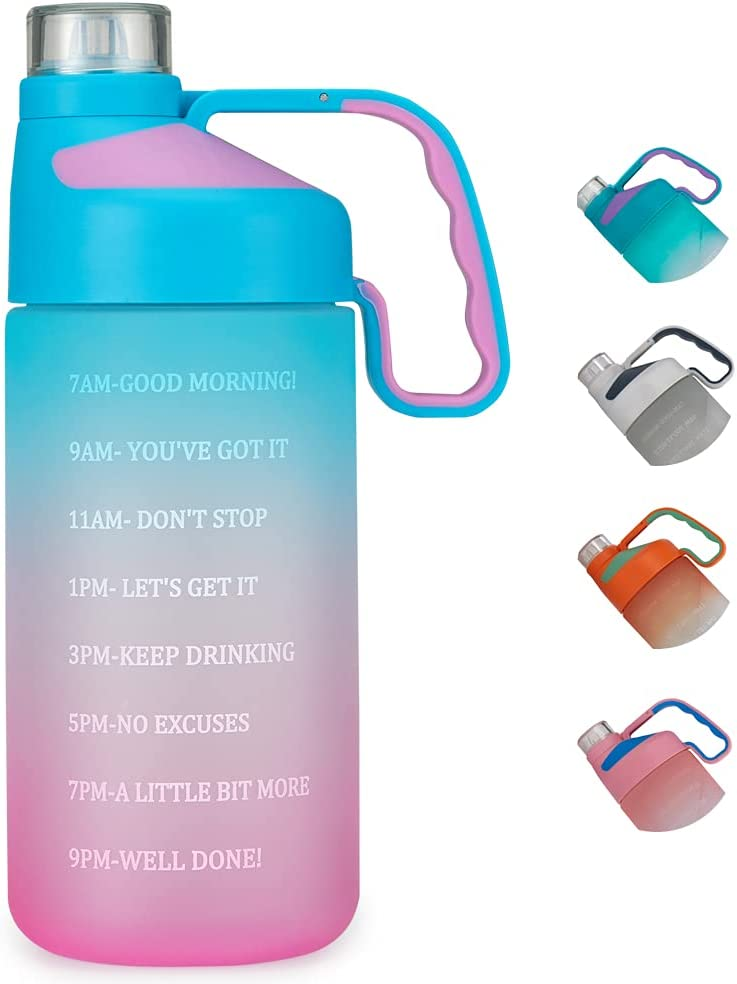 EAILGORL Water Bottles with Motivational Time Marker & Straw Leakproof BPA Free Reusble Flip Top Water Bottle for Sports and Fitness Enthusiasts (A1-Pink/Green Gradient)