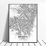 zhuifengshaonian Póster Mapa del Arte de la Lona de Barranquilla Bogotá Cartagena Medellín Colombia (ZW-1795) Sin Marco Poster 40x60cm