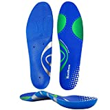 RooRuns Arch Support Insoles for Men and Women, Full Length Planter Fasciitis Support for Work Boots, PU Shock Absorption Orthotic Shoe Inserts for Flat Feet, Overpronation, Foot Heel Pain Relief, L
