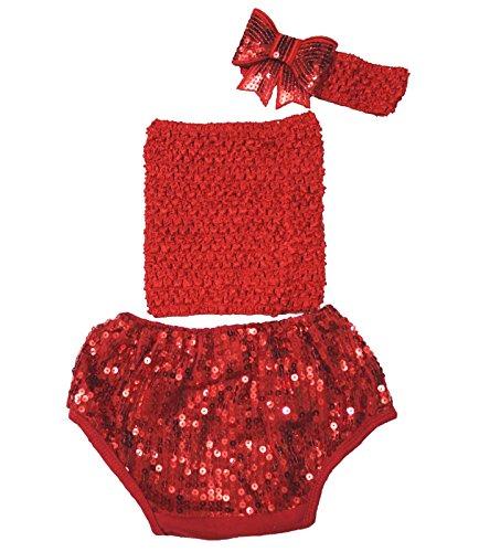 Hot Red Tube Top à paillettes Coton bloomer Pantalon Ensemble Vêtements bébé Lot de 3–12 m - Rouge -