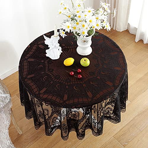 RHXJ Mantel de Halloween redondo vintage blanco negro encaje redondo mantel toalla decoración de boda negro diámetro 150 cm
