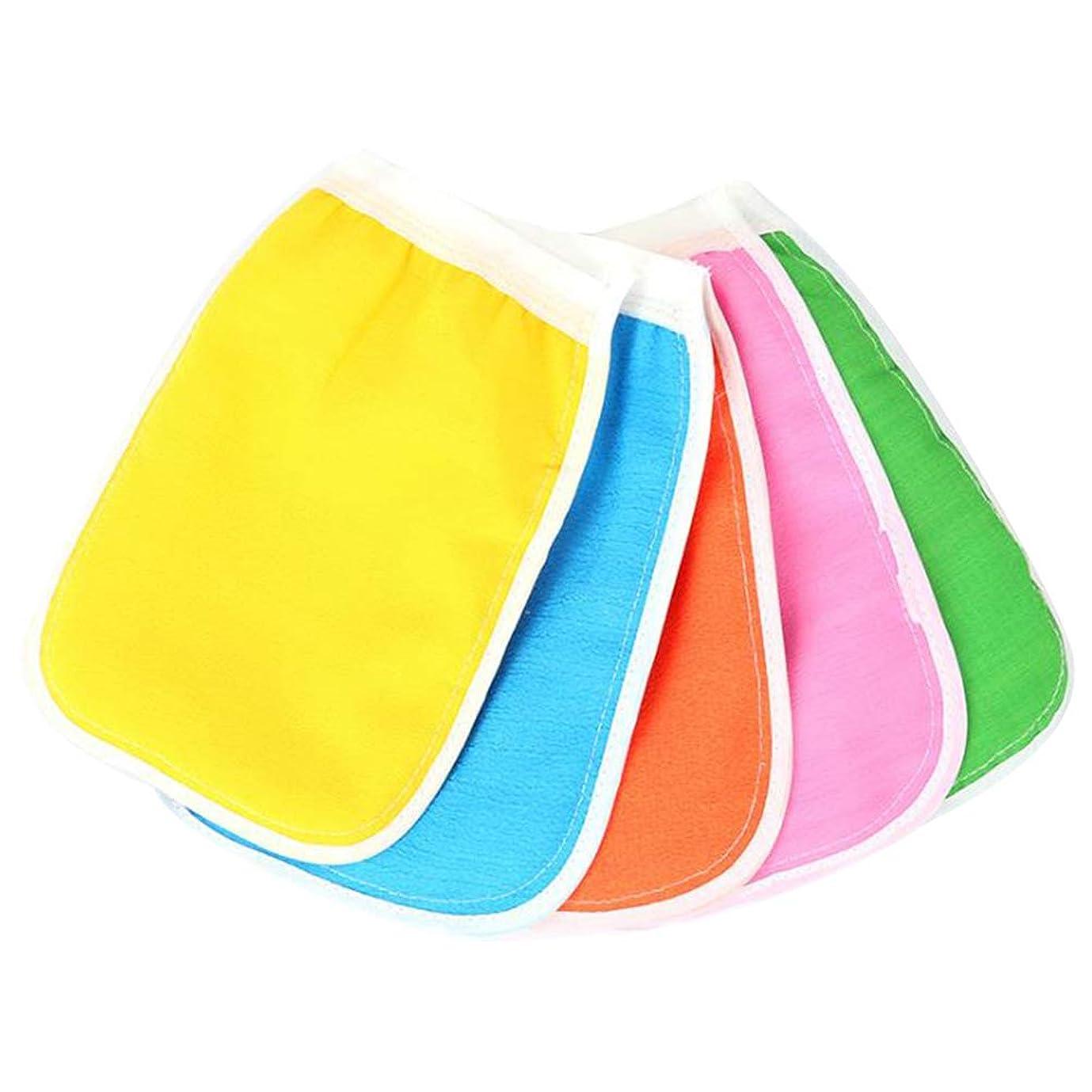 模倣笑親密なHEALIFTY ボディスクラブミトン手袋入浴シャワースパ用クレンジングツール(混色)のための5本の剥離手袋