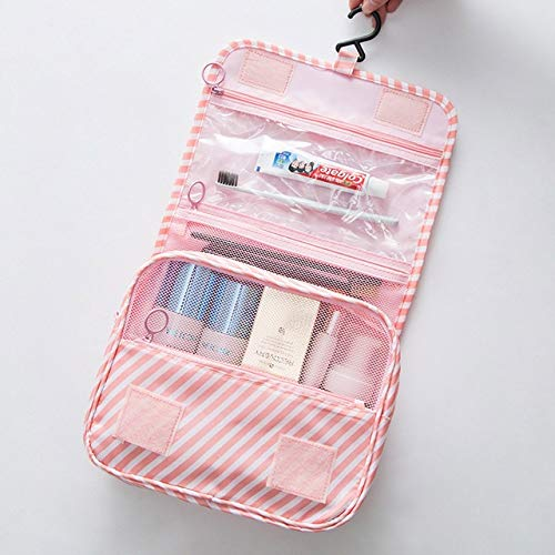 Sac cosmétique Crochet Portable Up Maquillage Sac Organisateur Voyage Femmes de Toilette imperméable Sacs de Haute qualité Housse Toiletry (Color : Pink Stripe)