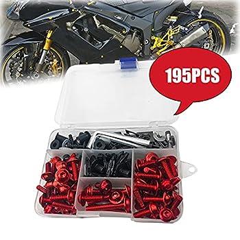 195PCS Motorcycle Fairing Bolts Kit Aluminum Bodywork Washers Nuts Fasteners Screws Clips for Suzuki Katana 600 750 1988 1989 1990 1991 1992 1993 1994 1995 1996 1997