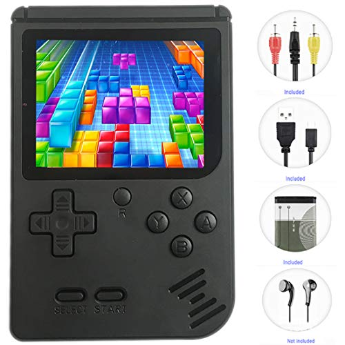 Mini Handheld Games for Kids, 8 Bit Retro 400 Classic Games 3.0' LCD Screen Portable Video Game Player Support TV Output Electric Learning Toys Birthday Gifts for Kids Boys Girls Ages 4-12 (Black)