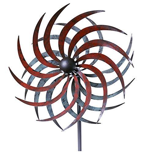 matches21 Windrad Windmühle Gartendeko Windspiel Metall Gartendeko Stab geschraubt gegenläufig grau rot 1 STK 32,5x175 cm