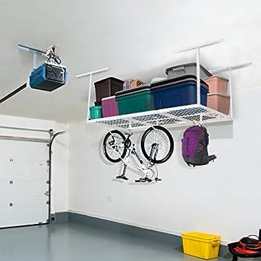 FLEXIMOUNTS 3x6 Overhead Garage Storage Adjustable Ceiling Storage Rack, 72  Length x 36  Width x 40  Height (white)