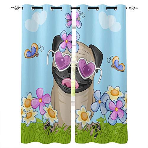 LWXBJX Cortinas Opacas Salon Habitación Aislantes Térmicas - Verde perro hierba flores - Impresión 3D Aislantes de...