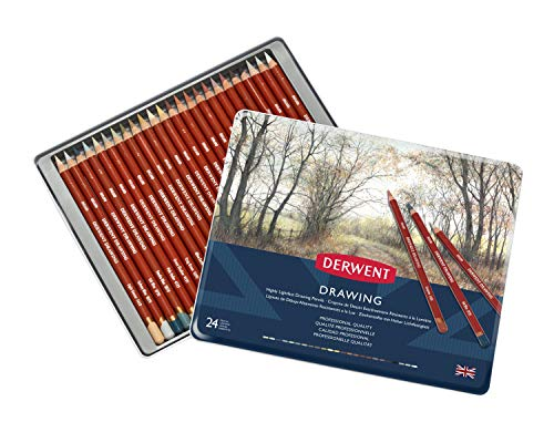 Derwent Colored Drawing Pencils, Metal Tin, 24 Count (0700672)