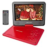 DBPOWER 11.5' Lecteur DVD Portable, Pile Rechargeable de 5 Heures, avec écran orientable, compatibilité Carte SD et Interface USB, lit Directement Les formats AVI, RMVB, MP3 et JPEG (Rouge)