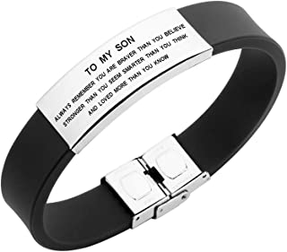 Freedom Love Gift to My Son Bracelet Always Remember You are Braver Stronger Courage Quotes (Black)