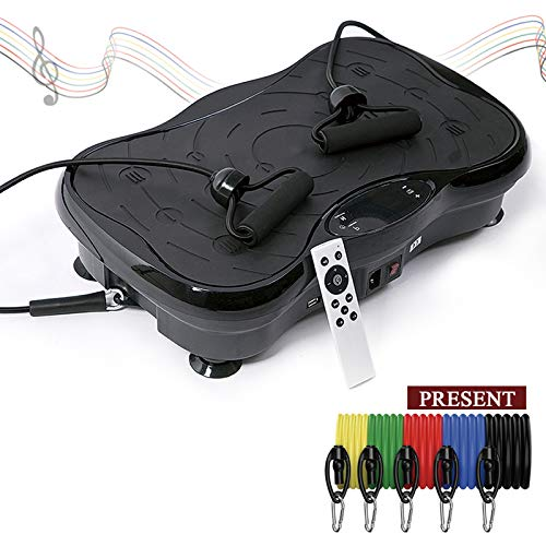 Pahajim Plataforma Vibración Fitness Aparato de Entrenamiento, Relajar Músculos - Máquina de Ejercicio Control Remoto Inalámbrico Altavoz Bluetooth Plataforma Vibratoria Oscilante (Negro)