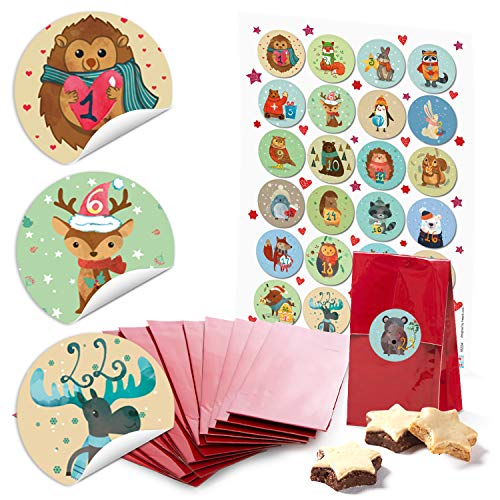 24 kleine rote Papiertüten Boden-Beutel mit Pergamin-Einlage 7 x 4 x 20,5 cm + 1 bis 24 Zahlen Aufkleber Advent Winter-Tiere bunt Kinder basteln be-füllen Adventskalender-Tütchen Weihnachten