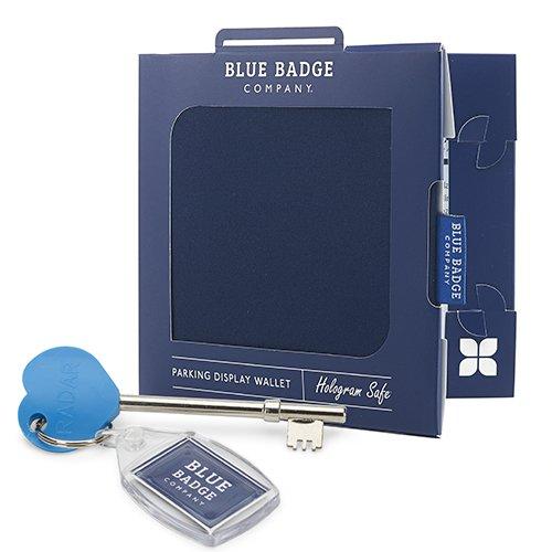 Blue Badge Company blauw gehandicaptenkaart portemonnee met radar sleutel en incl. klok