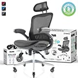 NOUHAUS Ergo Flip! Mesh Computer Chair - Black Rolling Desk Chair with...