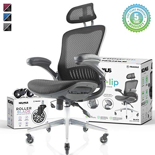 NOUHAUS Ergo Flip! Mesh Computer Chair - Black Rolling Desk Chair with Retractable Armrest and Bonus Blade Wheels! Ergonomic Office Chair, Gaming Chairs, Executive Swivel Chair, Reinforced Base black chair gaming