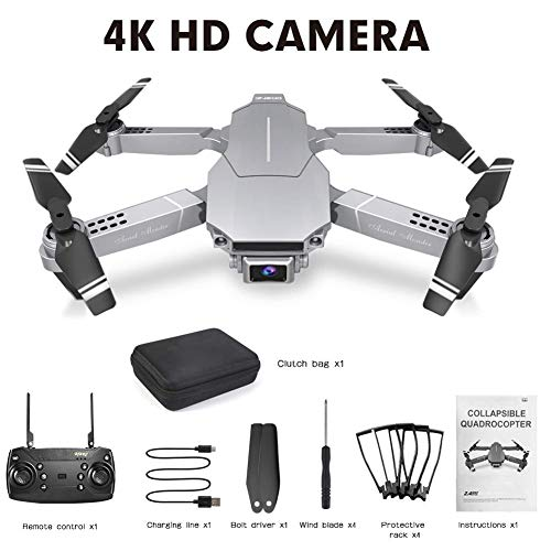 Drone with 4K High-Definition Camera, Foldable FPV Remote Control Quadcopter, Headless Mode, One Key Operation, for Children Beginners Boys | Silver |