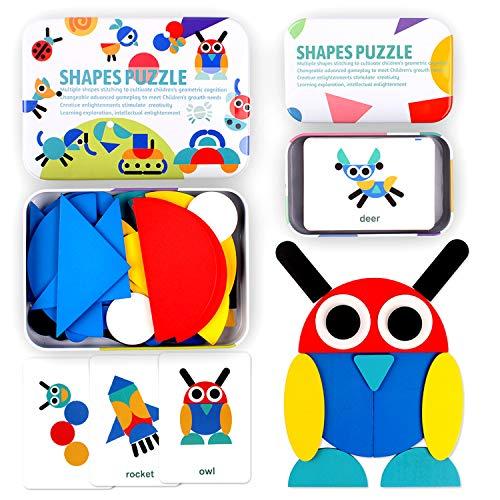 Rompecabezas de Madera, Swonuk 36 Piezas Tangram Puzzle + 60 Tarjetas de diseño, Tangram Madera Shape Puzzle Set Montessori Forma Geométrica Bloques de Patrones (36 Piezas) (36-Piezas)