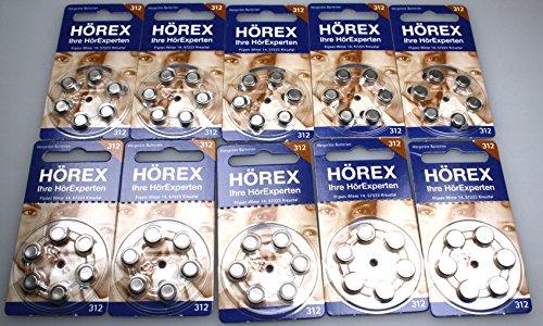 Hörgeräte Batterien Größe 312er 60 Stück von Hörex (Blauer Blister)