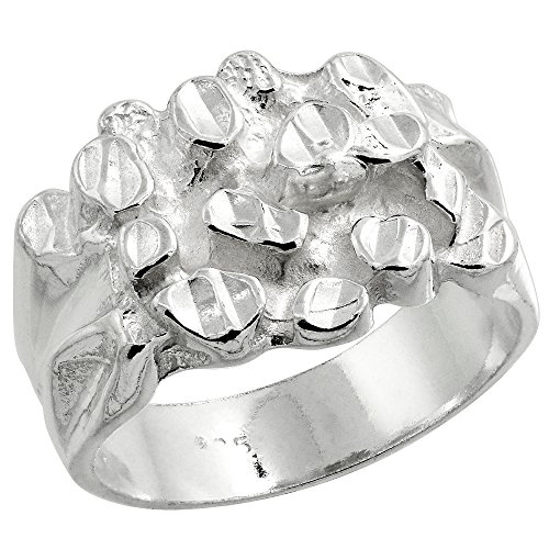 Sterling Silver Nugget Ring Diamond Cut Finish 9/16 inch wide, size 11