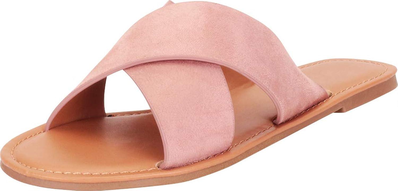 Cambridge Select Women's Classic Crisscross Strappy Slip-On Flat Slide Sandal