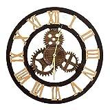 CHHD Reloj de Pared nostálgico Retro, Pared de Fondo del Dormitorio de la casa, Mesa de Densidad densa, Colgante artístico de Plata Dorada, Colgante de Pared de Roma (diseño: Roma dorad