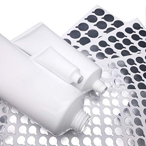 5 hojas de 11 mm de plata redondas autoadhesivas pegatinas de sellado de papel de aluminio para botellas de loción, pasta de dientes, tapones