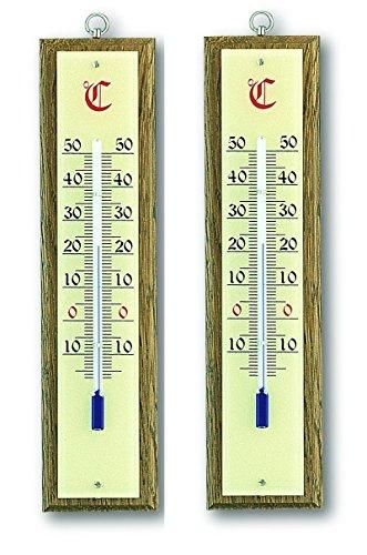 Thermomètre intérieur, chêne, lot de 2, TFA 12.1020