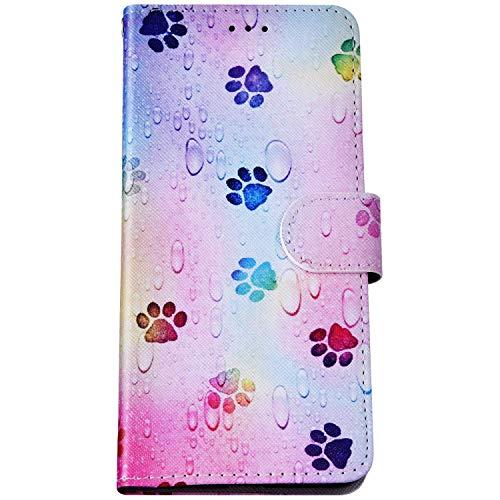 Felfy Kompatibel mit LG K40 Hülle Bunte Painted Muster Schutzhülle,Handyhülle für LG K40 Magnet Flip Hülle PU Lederhülle Tasche mit Kartenfach/Standfunktion - Fußabdrücke