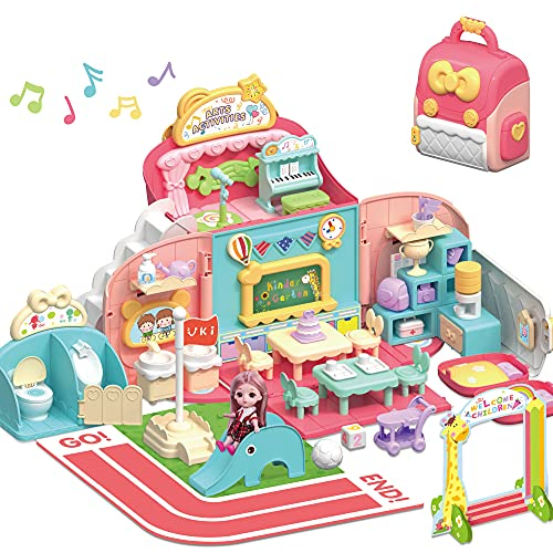 iPlay, iLearn Kids Dollhouse Playset, Girls Pretend Play Doll House School Set W/ Portable Backpack and Accessories,...