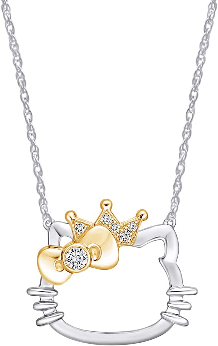 14K Gold Over Sterling Silver Natural Diamond Accent Two Tone Cat Kitty Pendant Necklace With 18 Chain I-J Color, I2-I3 Clarity