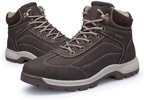 CWXDIAN Bottes de Neige décontractées pour Hommes en Coton, Grandes Chaussures de Velours, Chaussures de Plein air pour Hommes, café foncé, 45