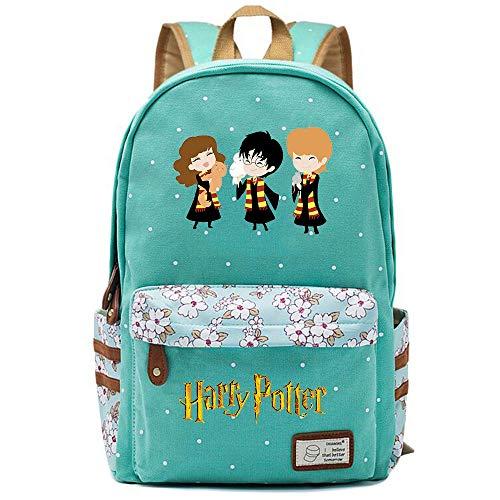 NYLY Harry Potter Avatar Rucksack, Jugendschüler Schultasche, Mädchen Blumen Backpack Notebook Tasche Unisex (Stil D) L Hellgrün