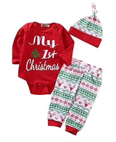 Eghunooye 3Pcs Baby My First Christmas Druck Langarm Strampler Babybody Top Deer Print Lange Hose mit Hut Weihnachten Kleidung Outfits für 0-18 Monate Baby Mädchen Junge (Rot, 0-6Monate)