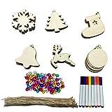 Adornos Arbol Navidad, 128pcs adornos de madera para árboles de Navidad con marcadores de cordón Campanas de colores para decoraciones de árboles de Navidad de bricolaje