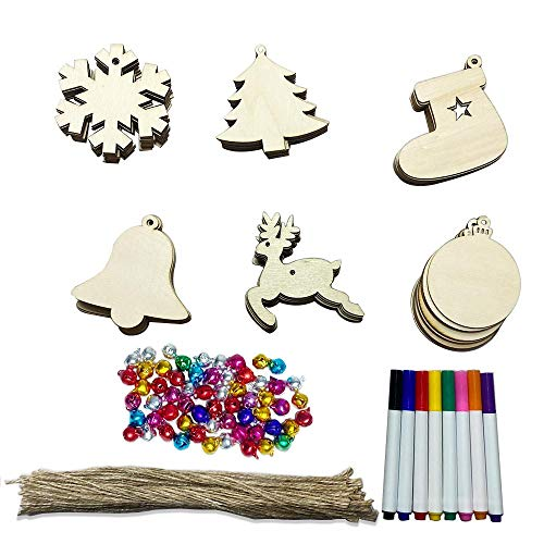Adornos Madera Navideños, 128pcs adornos de madera para árboles de Navidad con marcadores de cordón Campanas de colores para decoraciones de árboles de Navidad de bricolaje
