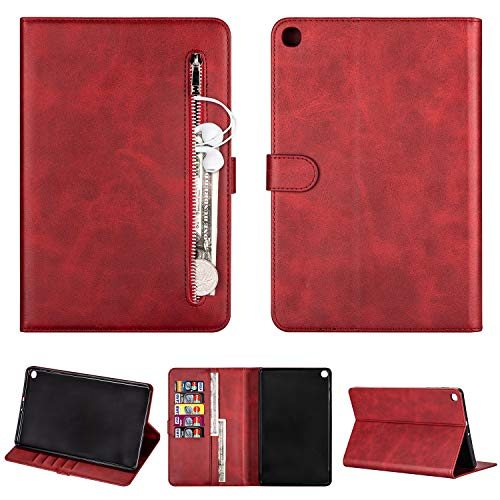 SEEYA Tablet Case for Samsung Galaxy Tab A 10.1 2019 SM-T510 SM-T515 PU Leather Tablet Magnetic Clasp Protective Case Wallet Smart Zipper Flip Cover with Stand Card Slots Red