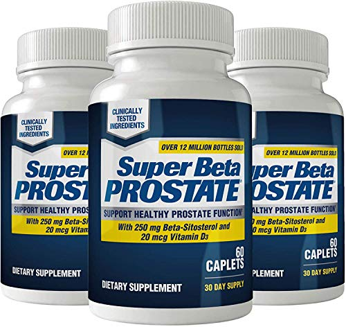 Super Beta Prostate Supplement for Men - Urinary Health & Prostate Support w/Beta Sitosterol, not Saw Palmetto - Reduce Bathroom Trips, Promote Sleep, Better Bladder Emptying (180 Caplets, 3-Pack)