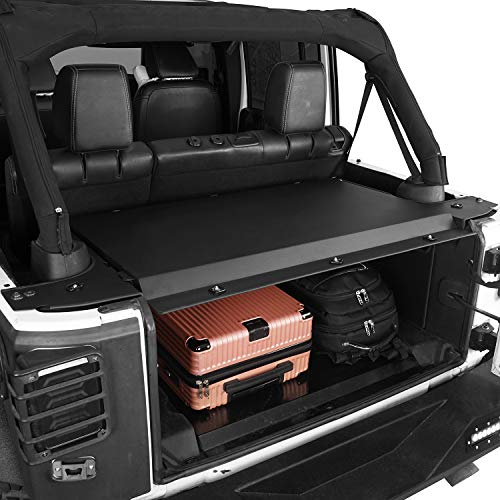 Hooke Road Cargo Cover Tonneau Cover Security Deck Enclosure Compatible with Jeep Wrangler JK 2011-2018 4-Door Unlimited